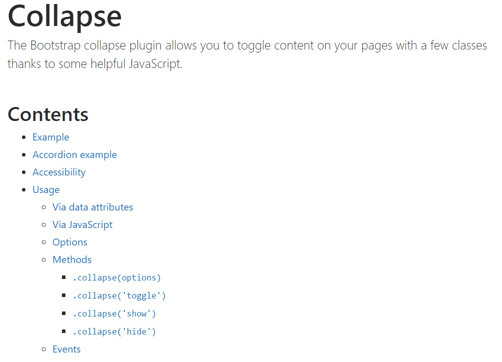 Bootstrap collapse official documentation