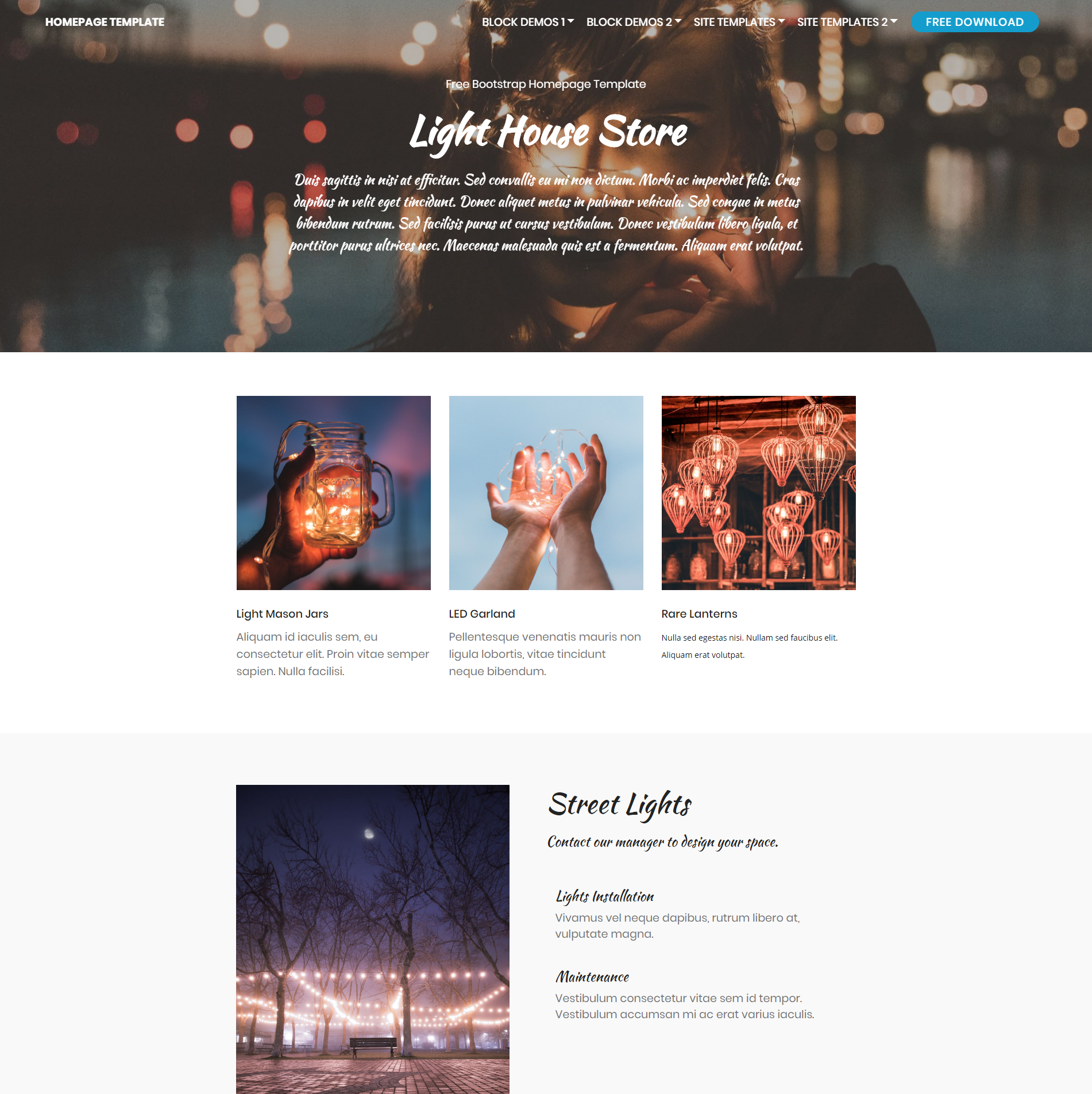 Free Download Bootstrap Homepage Themes